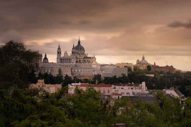 Far look from the almudena cathedral in madrid, spain.