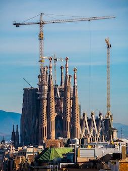 Far view of la sagrada familia cathedral.