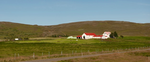 Farm buildings on hillside with horses and pasture, cloudless
