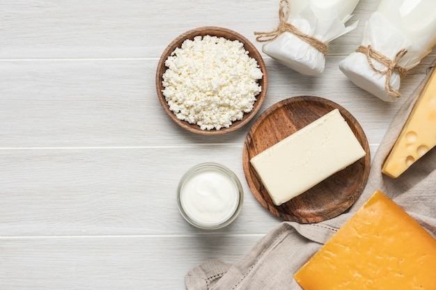Farm dairy products. bottle milk, cheeses, cottage cheese, eggs, yogurt, butter. organic food