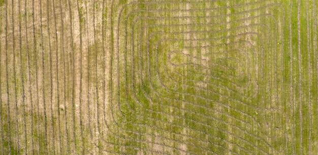 무인 항공기 촬영 평면도 위에서 농장 필드 농업보기