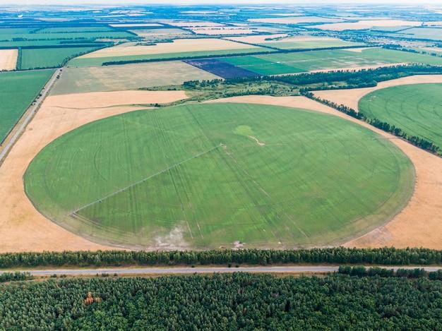 Farm fields with a bird's-eye view