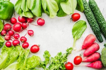 Farm fresh harvested vegetable on white background