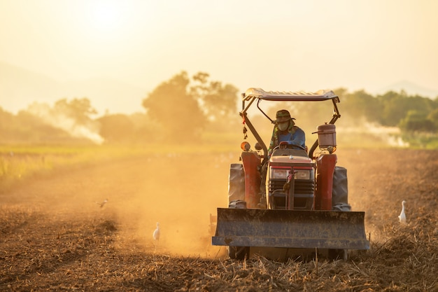 Farmer on big tractor in the land to prepare the soil