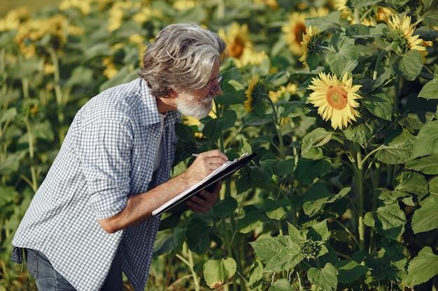L'agricoltore esamina il campo. agronomo o agricoltore esamina la crescita del grano.