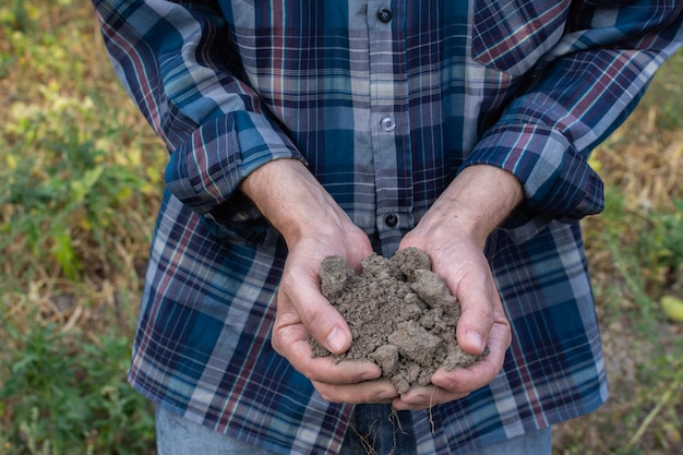 Farmer hands with soil in the palms close-up , man hands with fertile soil