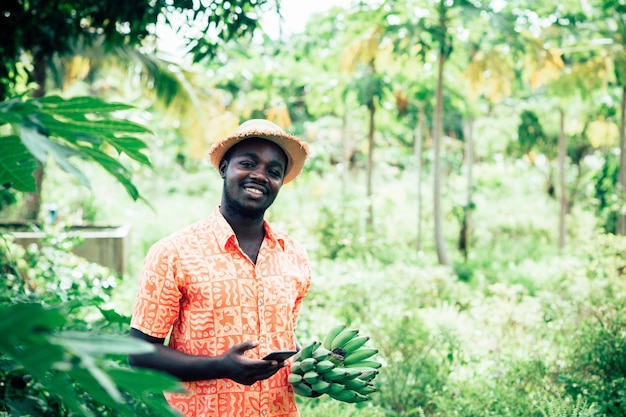 Фермер, держа бананы и смартфон на органической ферме