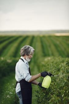 農家が庭に野菜に除草剤を散布。黒いエプロンの男。