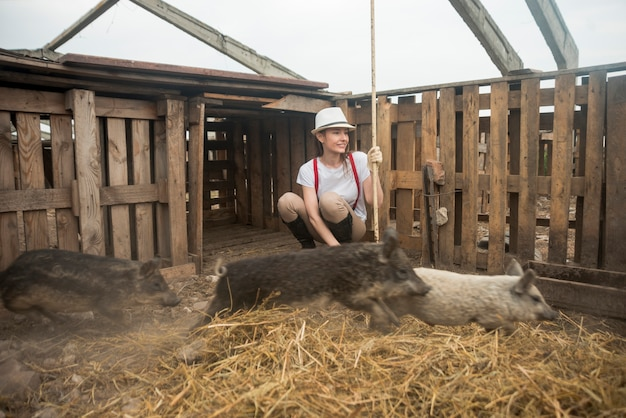 Farmer taking care of pigs in a sty
