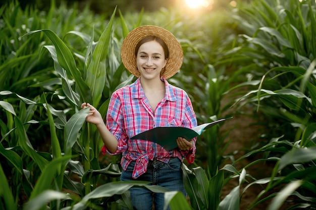Фермер с папкой стоит на кукурузном поле и проверяет рост овощей. сельское хозяйство - производство продуктов питания, концепция урожая
