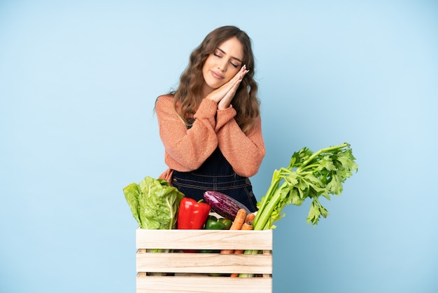 Farmer with freshly picked vegetables in a box making sleep gesture in dorable expression