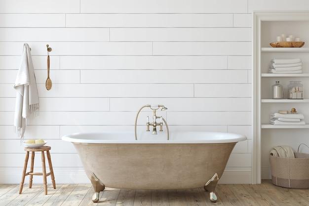 Ванная комната в сельском доме со стеной из шипа. макет интерьера. 3d визуализация.