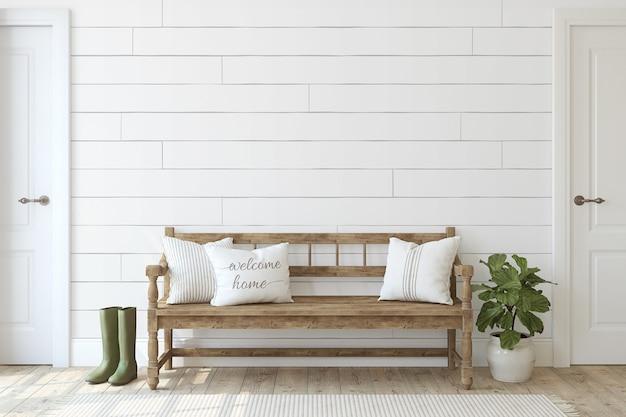 농가 입구. 흰색 shiplap 벽 근처 나무 벤치입니다. 인테리어 모형. 3d 렌더링.