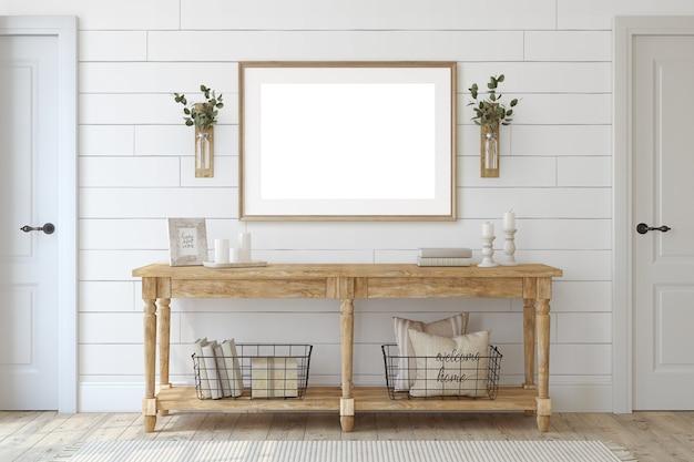 농가 입구. 흰 벽 근처 나무 콘솔 테이블입니다. 프레임 모형. 3d 렌더링.