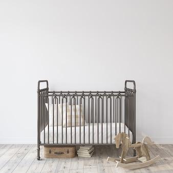 Farmhouse nursery. black metal crib near empty white wall. interior mock-up. 3d rendering.