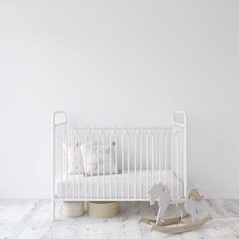 Приусадебный питомник. детская кроватка из белого металла возле пустой белой стены. макет интерьера. 3d рендеринг.