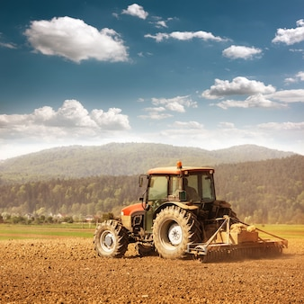 Farming with tractor