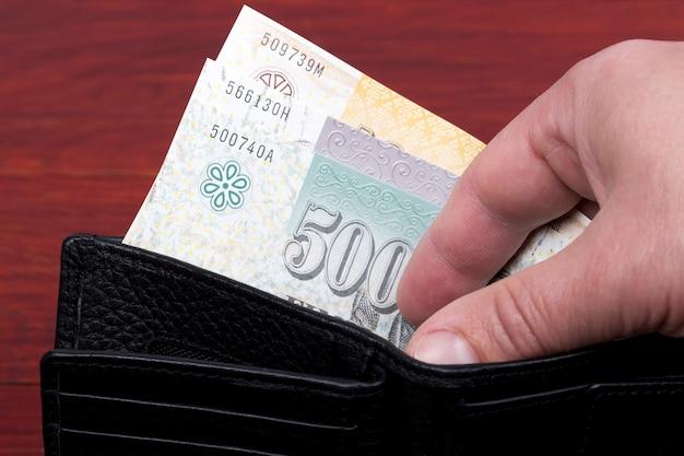 Faroese krona in the black wallet