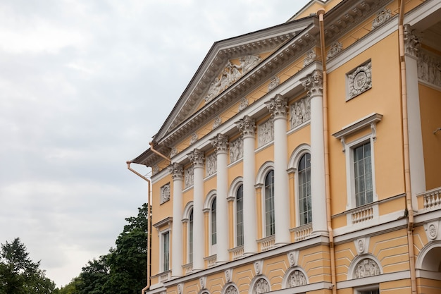 Fasade building of russian museum close-up on sun afternoon day. unique urban landscape center saint petersburg. central historical sights city. top tourist places in russia. capital russian empire