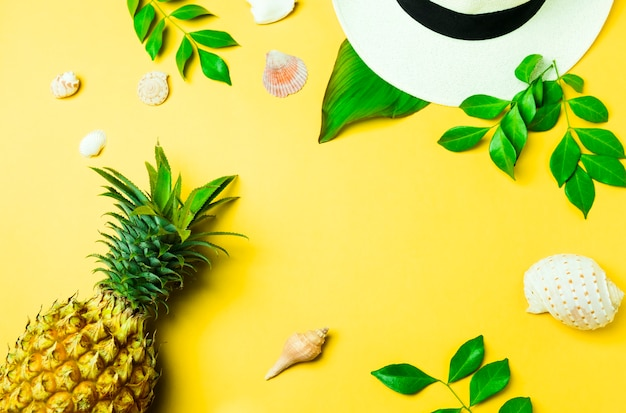 Fashion accessories, pineapple and seashell