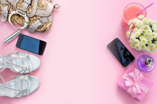 Fashion accessories shoes handbag phone gadget lipstick cosmetics flowers