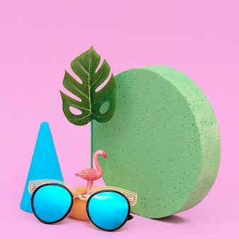 Fashion accessories sunglasses. minimal flat lay art. beach tropical summer concept