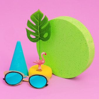 Fashion accessories sunglasses. minimal flat lay art. beach tropical summer vibes