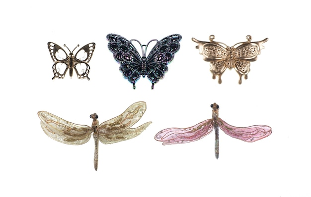 흰색에 고립 된 패션 액세서리 브로치 나비 반짝 이는 비즈 패션 아이템