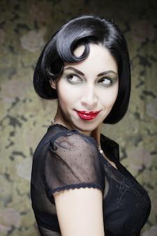 Fashion art girl portrait.vamp style. glamour vampire woman.