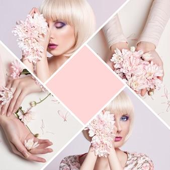 Fashion art portrait woman in summer dress flowers