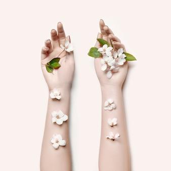 Fashion art portrait woman summer flowers hand
