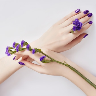 Fashion art skin care hands purple flowers in hand