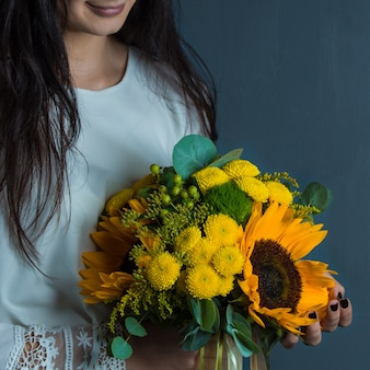Fashion autumn bouquet with yellow combination of flowers
