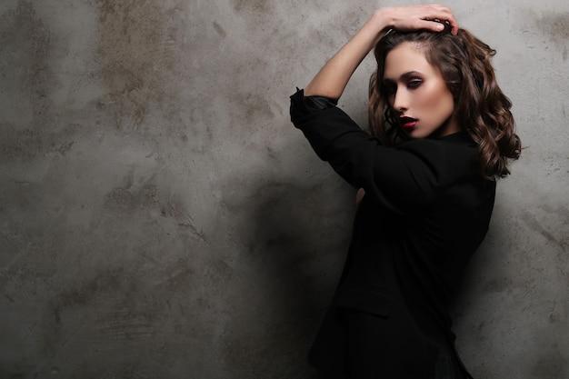 Fashion beautiful woman posing, vogue concept