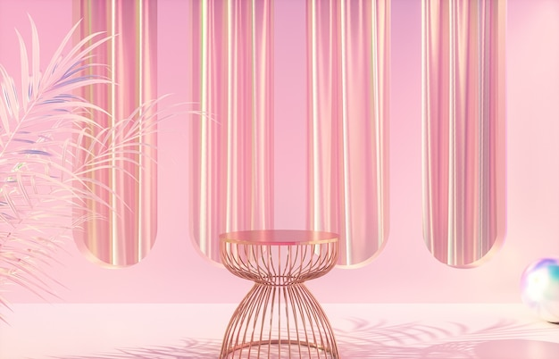 Fashion beauty luxury podium backdrop with holographic iridescent texture. 3d render.