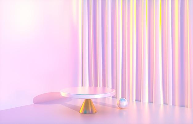 ホログラフィック虹色のテクスチャとファッションの美しさの豪華な表彰台の背景。 3dレンダリング。