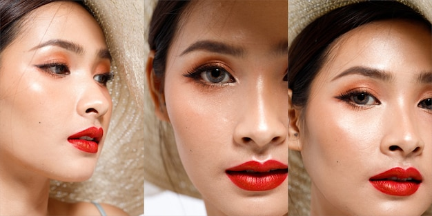 Fashion beauty woman имеет длинные прямые черные волосы, выражающие сексуальность. крупным планом портрет азиатской девушки показывает лицо, глаза, губы с красной помадой для ухода за кожей