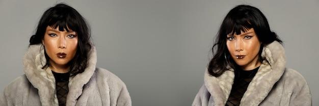 패션 뷰티 우먼은 짧은 검은 머리에 감정을 표현하고 있습니다. 회색 배경 콜라주 위에 모피 코트 드레스를 입은 아시아 lgbtgia+ 트랜스젠더 여성의 초상화