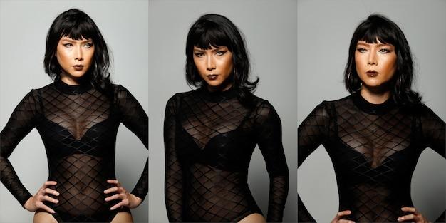 패션 뷰티 우먼은 짧은 검은 머리에 감정을 표현하고 있습니다. 아시아 lgbtgia+ 트랜스젠더 여성의 초상화는 회색 배경 콜라주 위에 섹시한 그물 드레스를 입습니다.