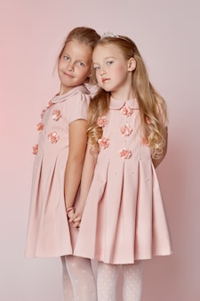 Fashion childrens two young models girls kids