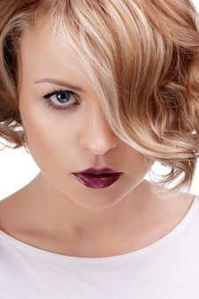 Fashion close up portrait of beautiful woman with red lips.