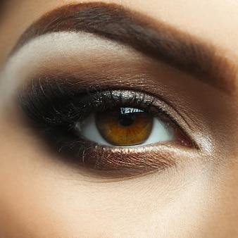 Fashion closeup photo of female eye with nice makeup in studio