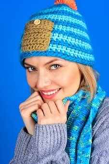 Fashion clothes isolated on blue background people concept autumn winter fashion close up portrait