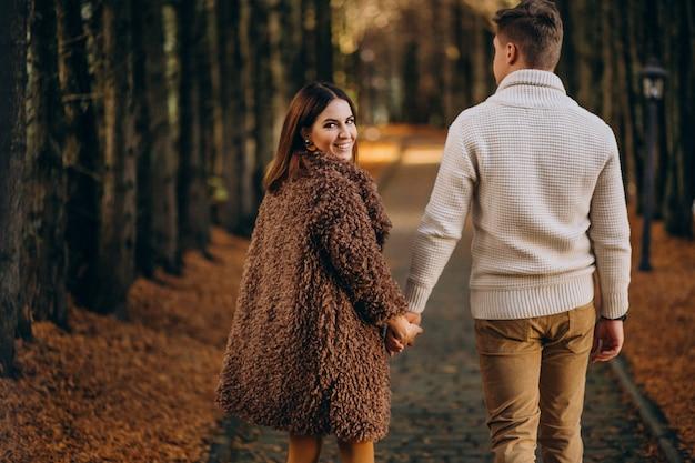 ファッションカップル一緒に公園を散歩して