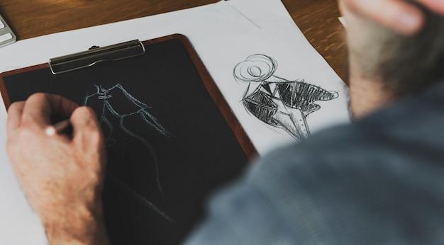 Концепция костюма рисунка эскиза дизайнера одежды