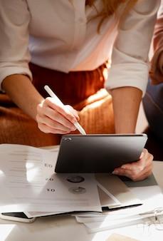 Fashion designer working on a digital tablet