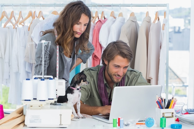 Fashion designers with chihuahua working on laptop