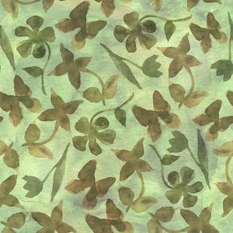 ファッション花のカモフラージュ抽象的な背景。抽象的な花と蝶とのシームレスな森林パターン。カーキ、ブラウン、ベージュ、グリーンの色。水彩手描きイラスト。