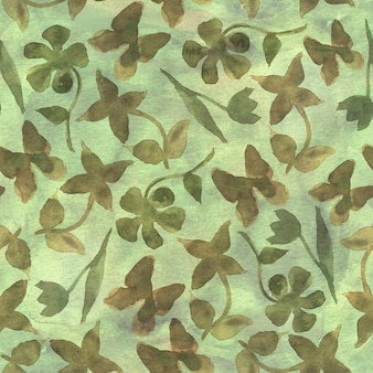 Fashion floral camouflage abstract background. seamless woodland pattern with abstract  flowers and butterflies. khaki, brown, beige and green color. watercolor hand drawn illustration.