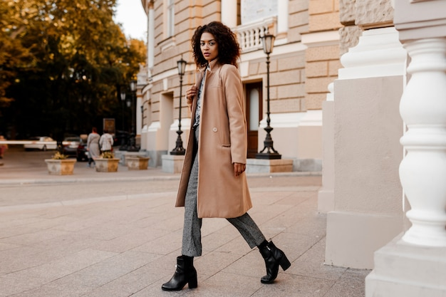 Fashion  full length  image of elegant  black woman in stylish luxury beige coat and velvet sweater